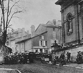 353rd Infantry near a church at Stenay, Meuse in France